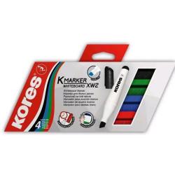 Popisovač Kores na tabule - 3mm, sada 4 ks