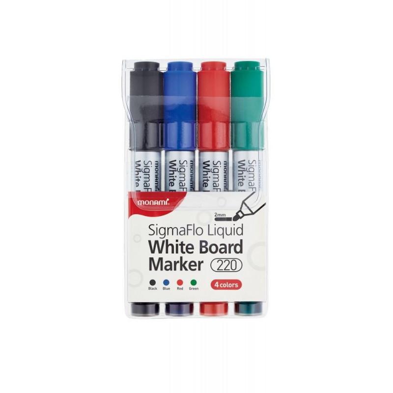 Popisovač na bílé tabule MONAMI 220 - 2mm / sada 4 ks