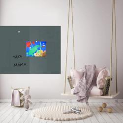 Skleněná magnetická tabule - šedá antracitová  do dětského pokoje